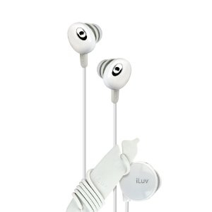 639247131347, White hi-fi in-ear earphones with wire reel and in-line volume control