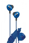 639247131316, Blue hi-fi in-ear earphones with wire reel and in-line volume control