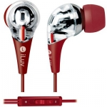 639247132337, Red premium hi-fi earphones with in-line volume control