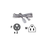 722868118917, 10ft ac power extension gray3-outlet/3-prong