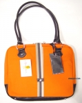 Mango Tango Canvas Laptop Orange Bag w/ faux leather trim
