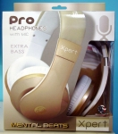 New XPert Pro Headphones With Mic Extra Bass Mental Beats White Silver