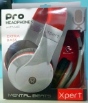 New XPert Pro Headphones With Mic Extra Bass Mental Beats Grey Red