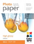 "Photo paper ColorWay high glossy 62 lb, 8.5""х11"", 50 sht"
