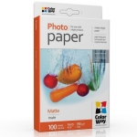 "Photo paper ColorWay matte 51 lb, 4""х6"", 100 sht (PM1901004R)"