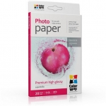 "Photo paper ColorWay premium high glossy 68 lb, 4""х6"", 20 sht (PSG2550204R)"